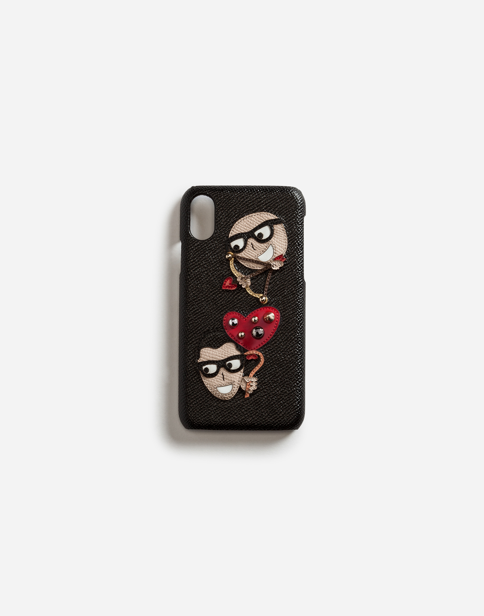 Dolce&Gabbana IPHONE X COVER IN DAUPHINE CALFSKIN WITH PATCHES OF THE DESIGNERS