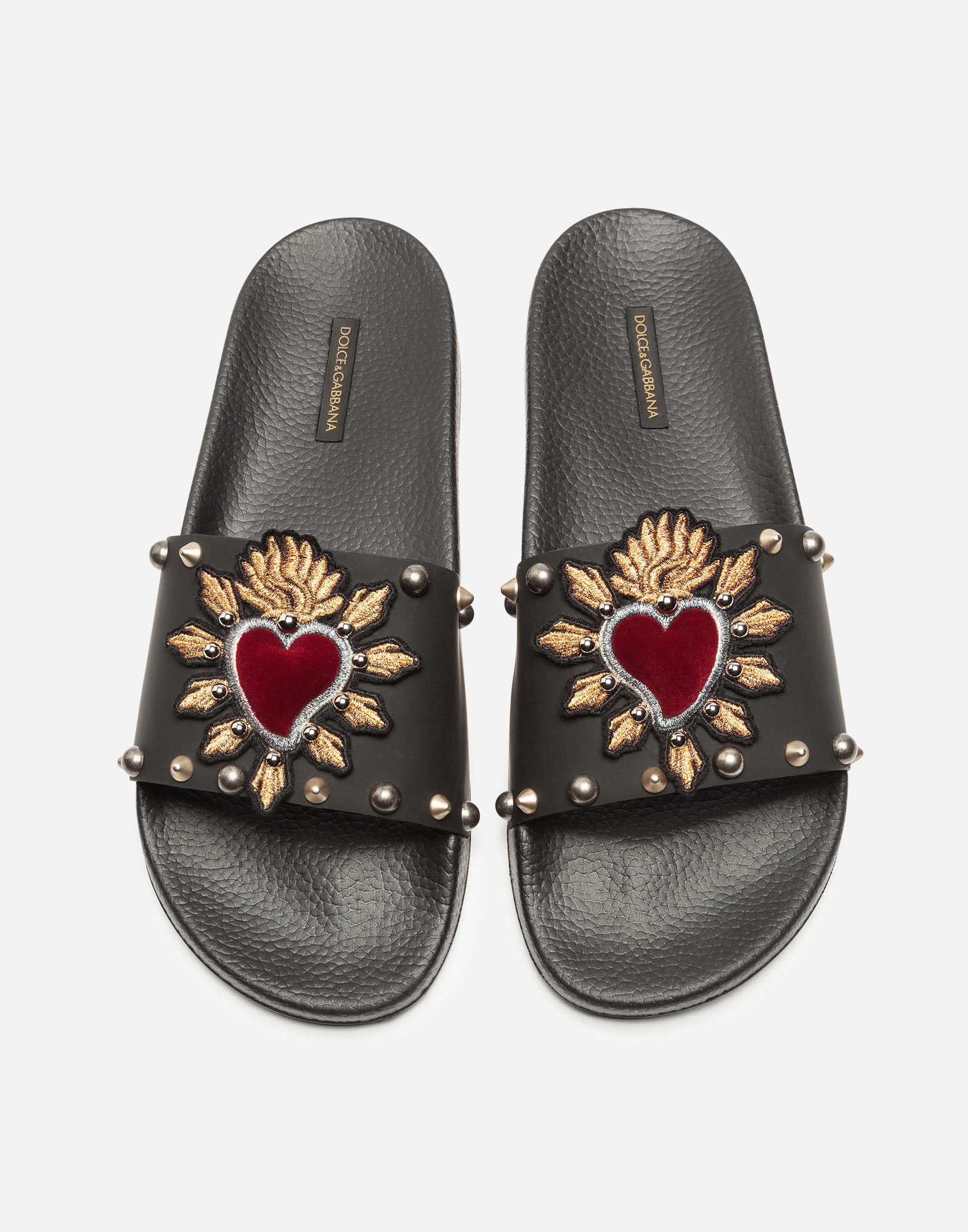 SLIPPERS IN RUBBER AND CALFSKIN WITH HEART PATCHES