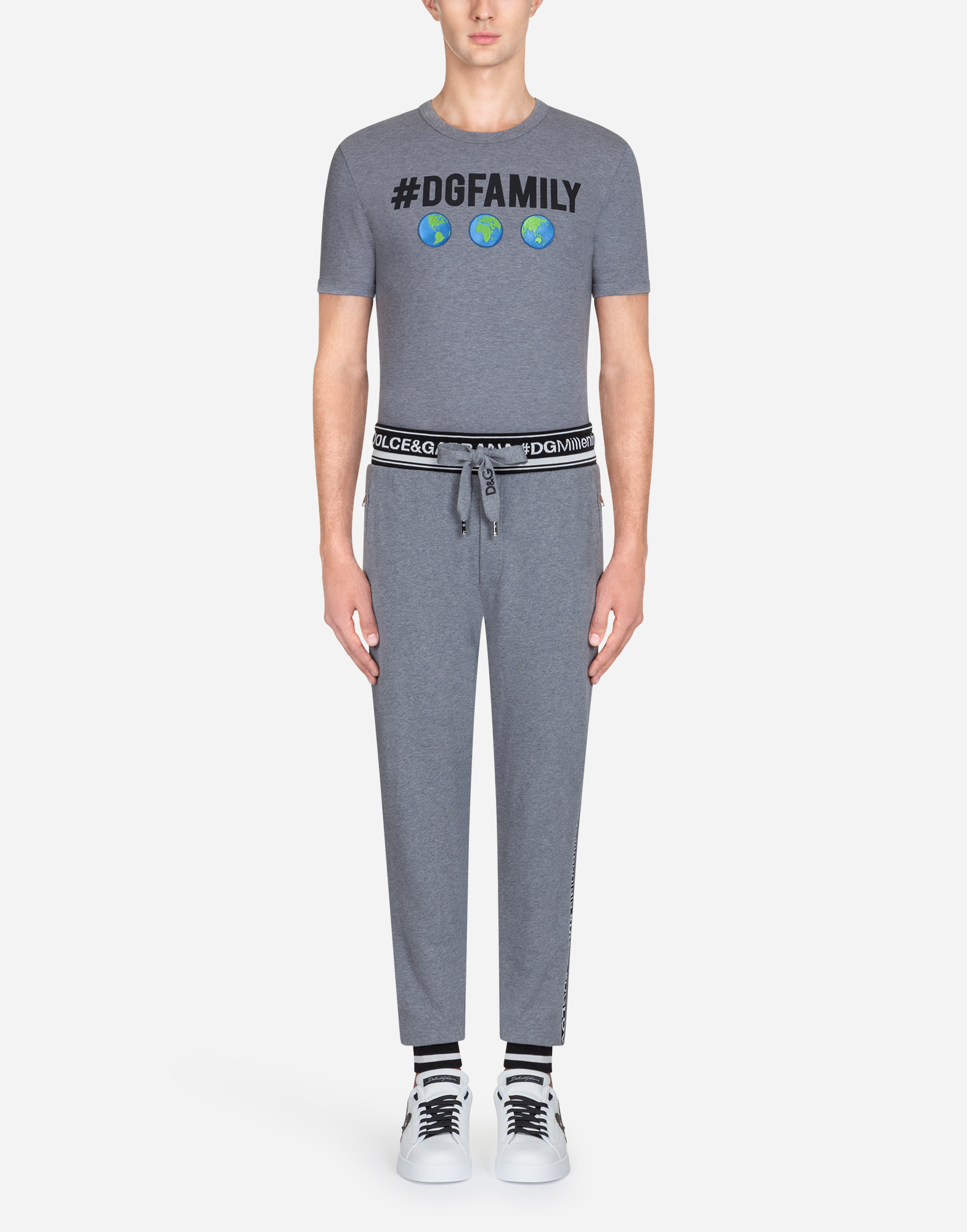 Dolce & Gabbana JOGGING PANTS IN #DGFAMILY PRINTED COTTON AND PATCH
