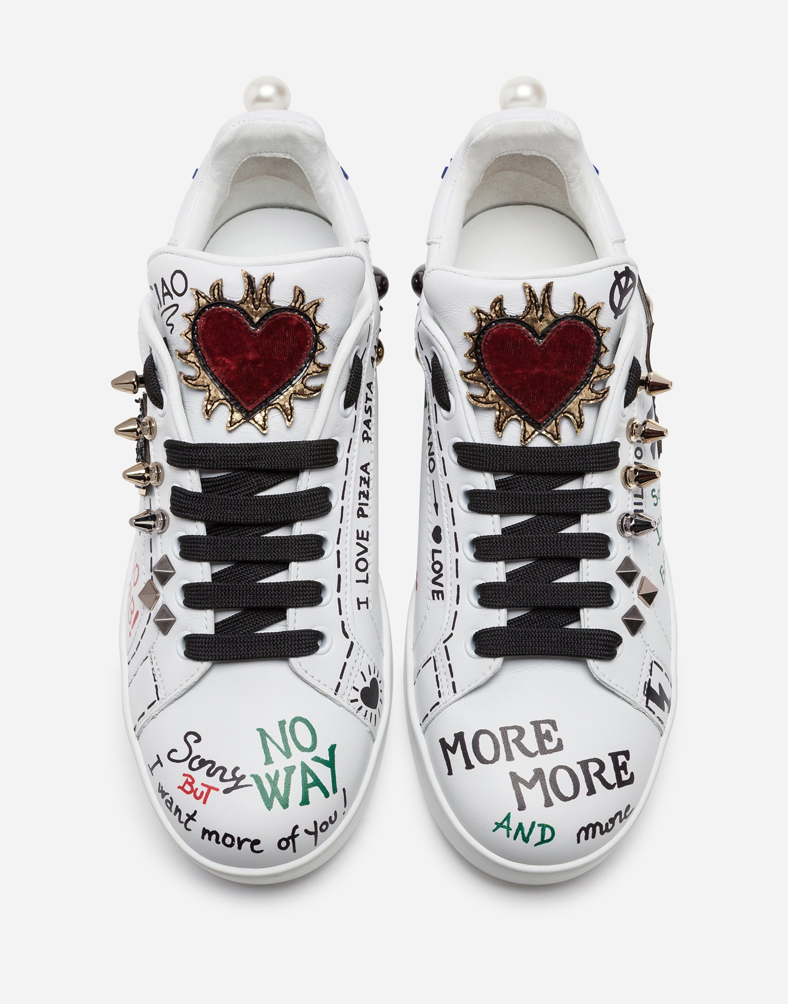 PRINTED LEATHER PORTOFINO SNEAKERS WITH APPLIQUÉ