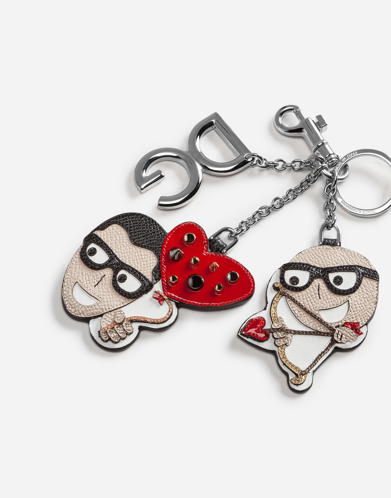 DAUPHINE CALFSKIN KEYCHAIN WITH CUPID-STYLE PATCHES OF THE DESIGNERS