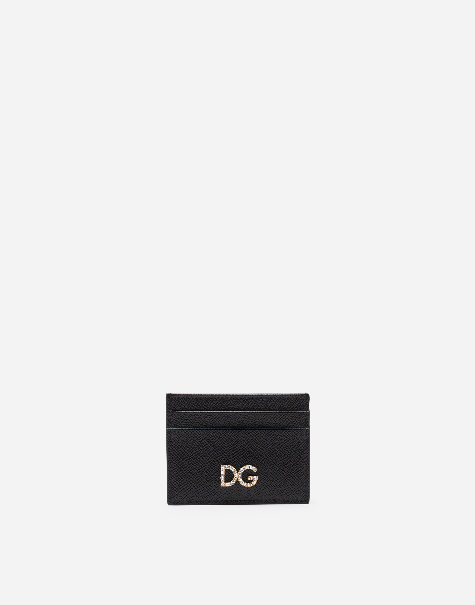 Dolce&Gabbana DAUPHINE CALFSKIN CARD HOLDER WITH DG CRYSTAL LOGO