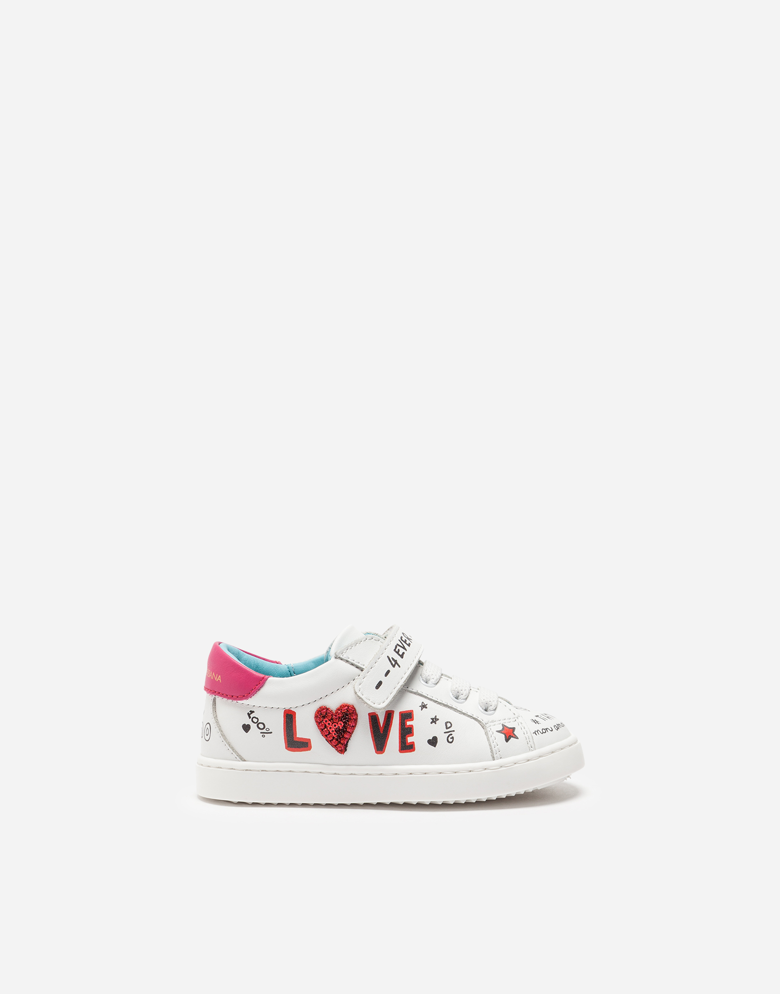 Dolce & Gabbana KID'S FIRST STEPS LEATHER SNEAKERS WITH PATCH