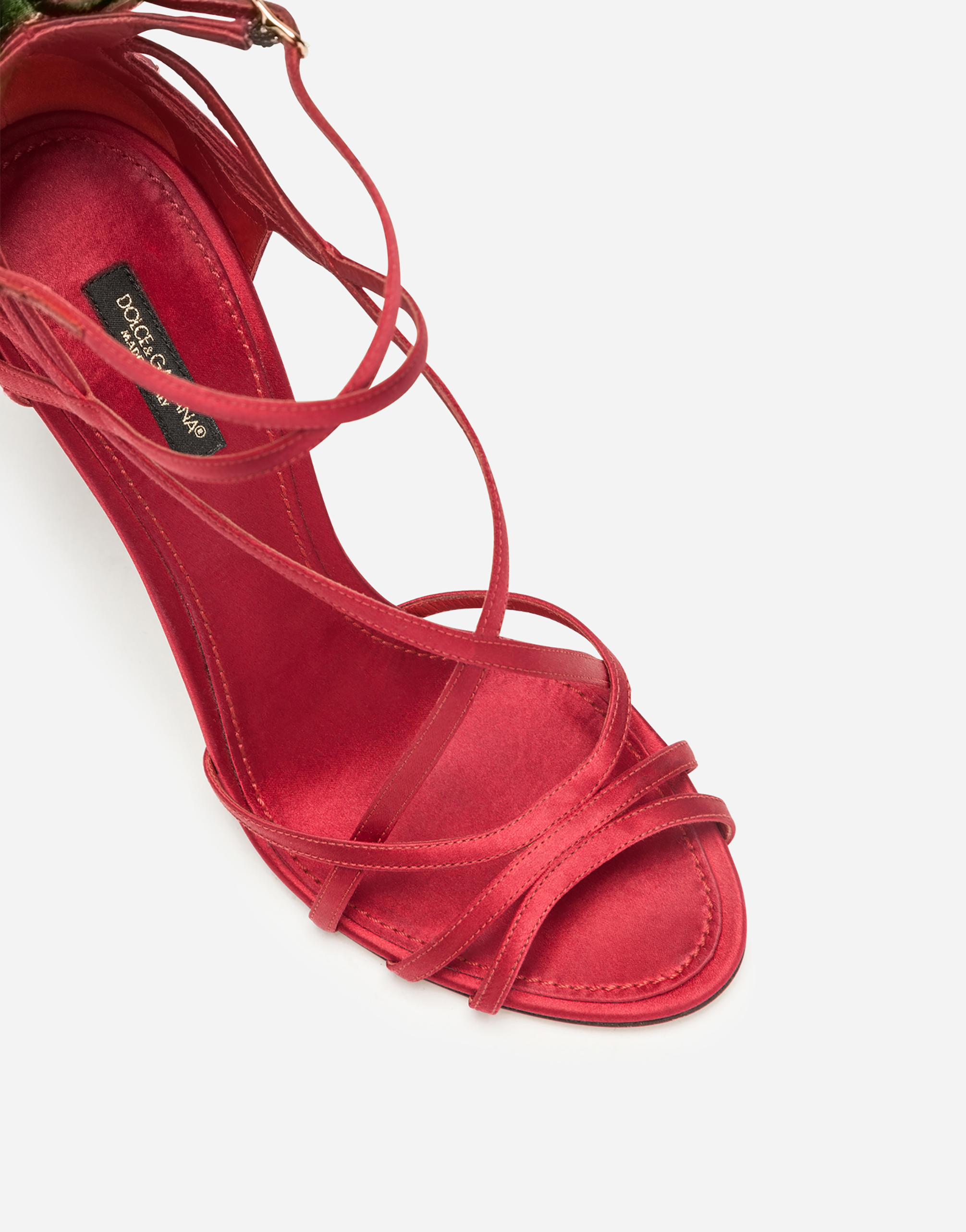 Dolce&Gabbana SATIN SANDALS WITH EMBROIDERY