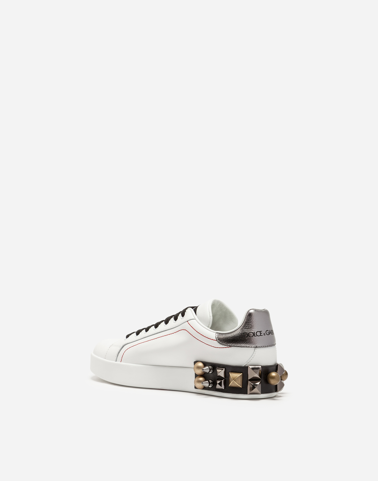 Dolce&Gabbana PORTOFINO SNEAKERS IN PRINTED CALFSKIN WITH APPLIQUÉS