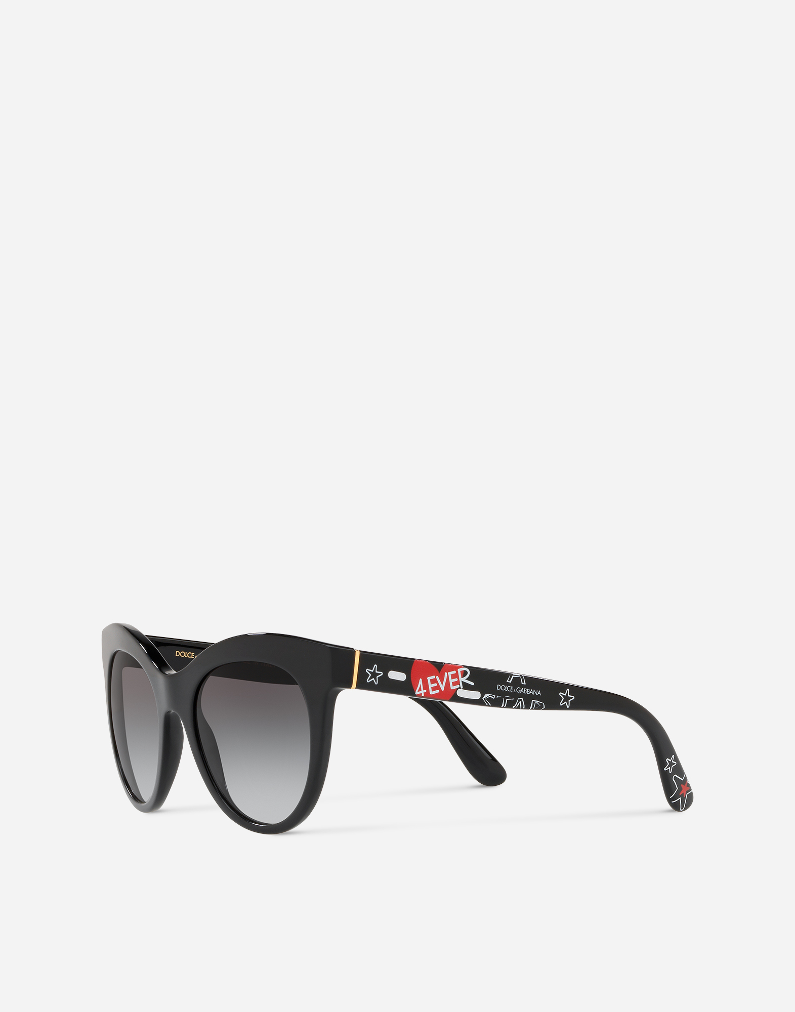 Dolce & Gabbana CAT-EYE SUNGLASSES IN ACETATE WITH GRAFFITI PRINT