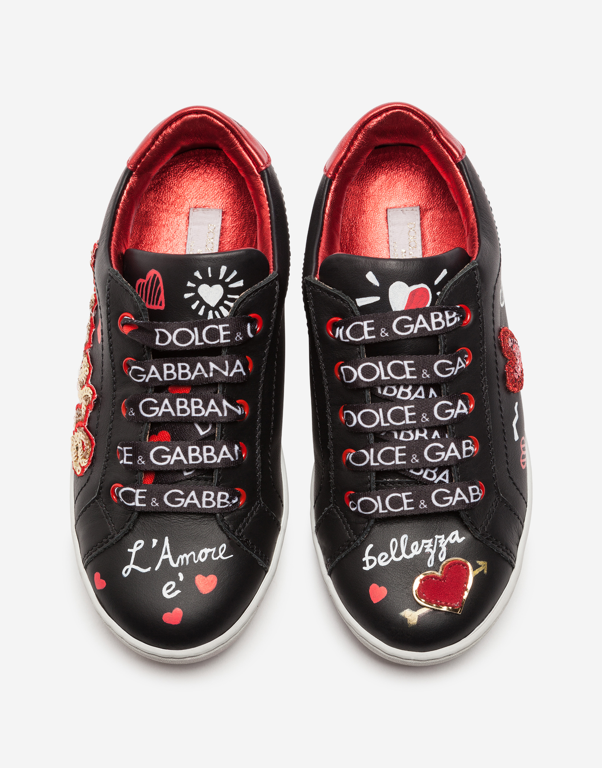 Dolce&Gabbana LEATHER SNEAKERS WITH EMBROIDERY