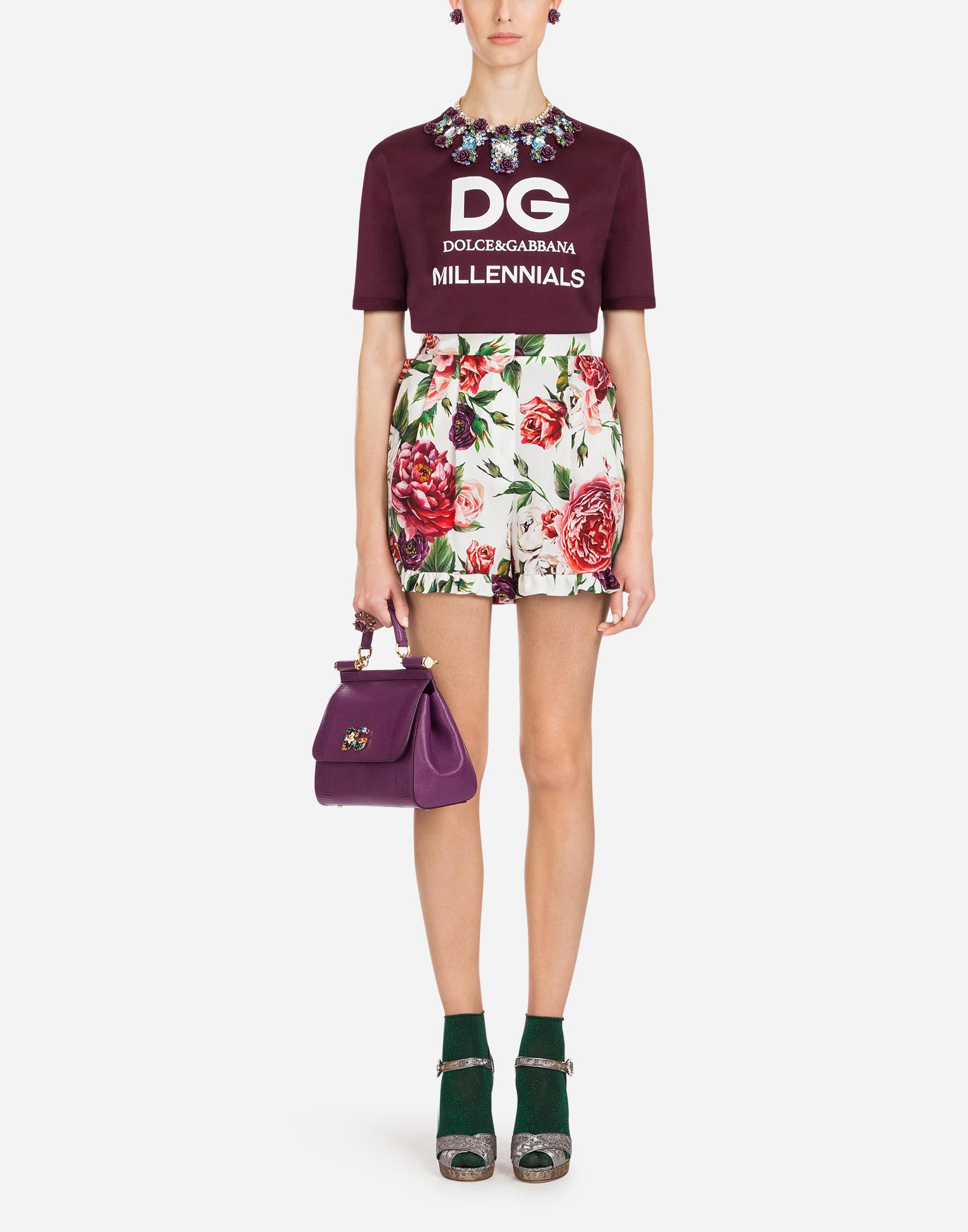 Dolce&Gabbana MEDIUM CALFSKIN SICILY BAG WITH IGUANA PRINT AND DG CRYSTAL LOGO PATCH