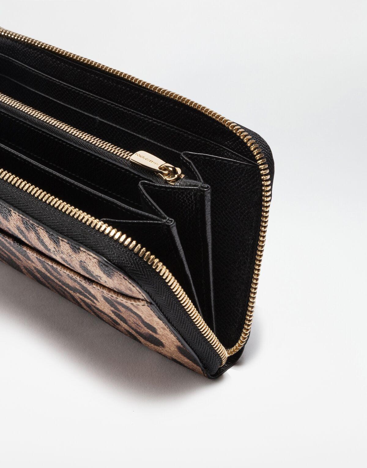 Dolce & Gabbana ZIP-AROUND WALLET IN LEOPARD TEXTURED LEATHER