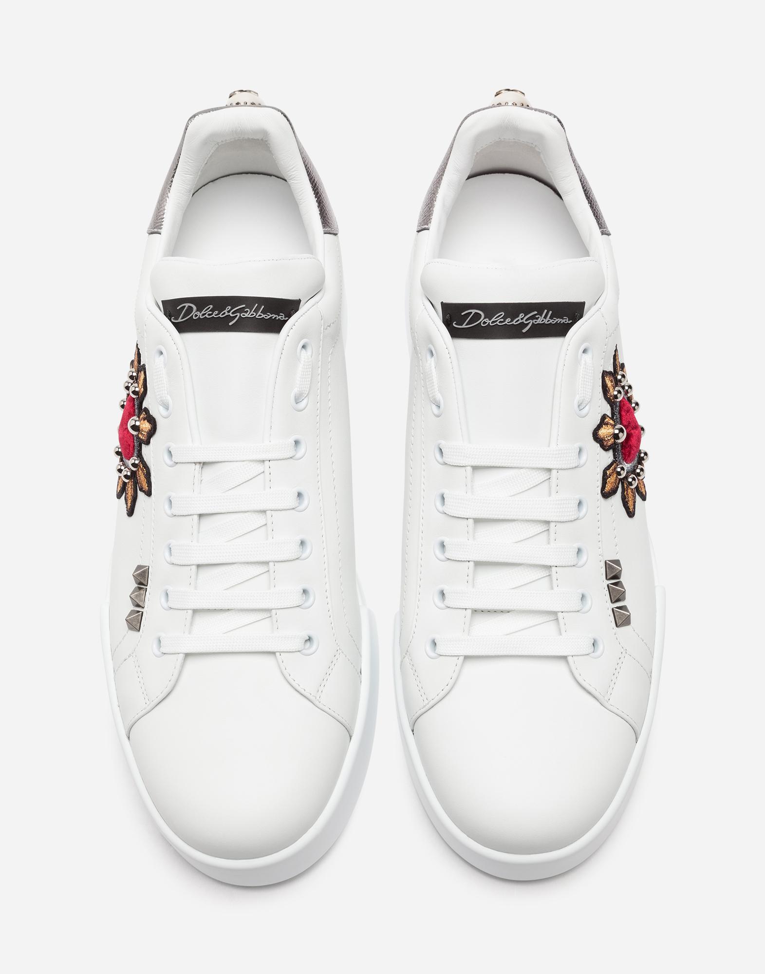 Dolce & Gabbana CALFSKIN NAPPA PORTOFINO SNEAKERS WITH PATCH