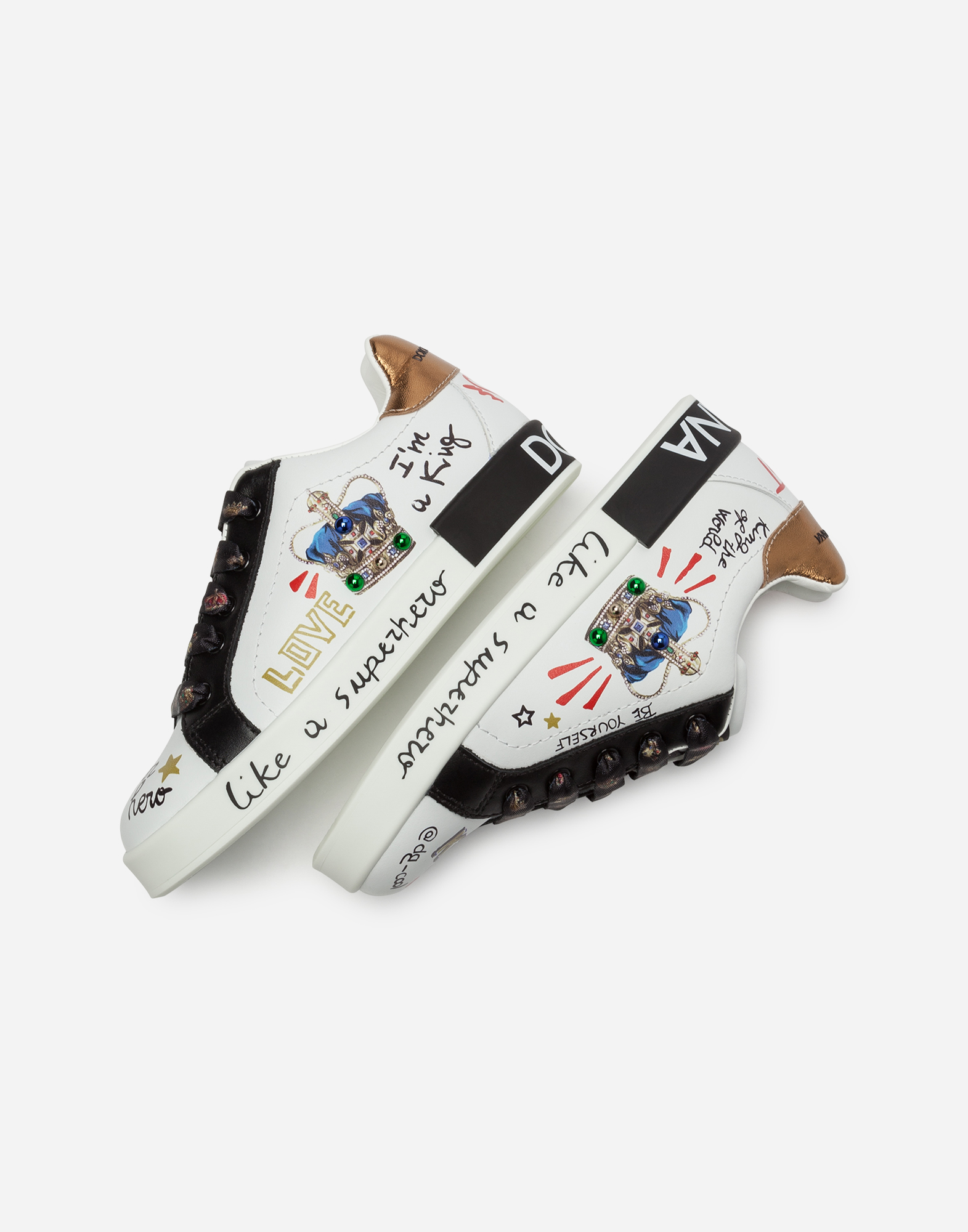 Dolce & Gabbana CROWN-PRINTED PORTOFINO SNEAKERS