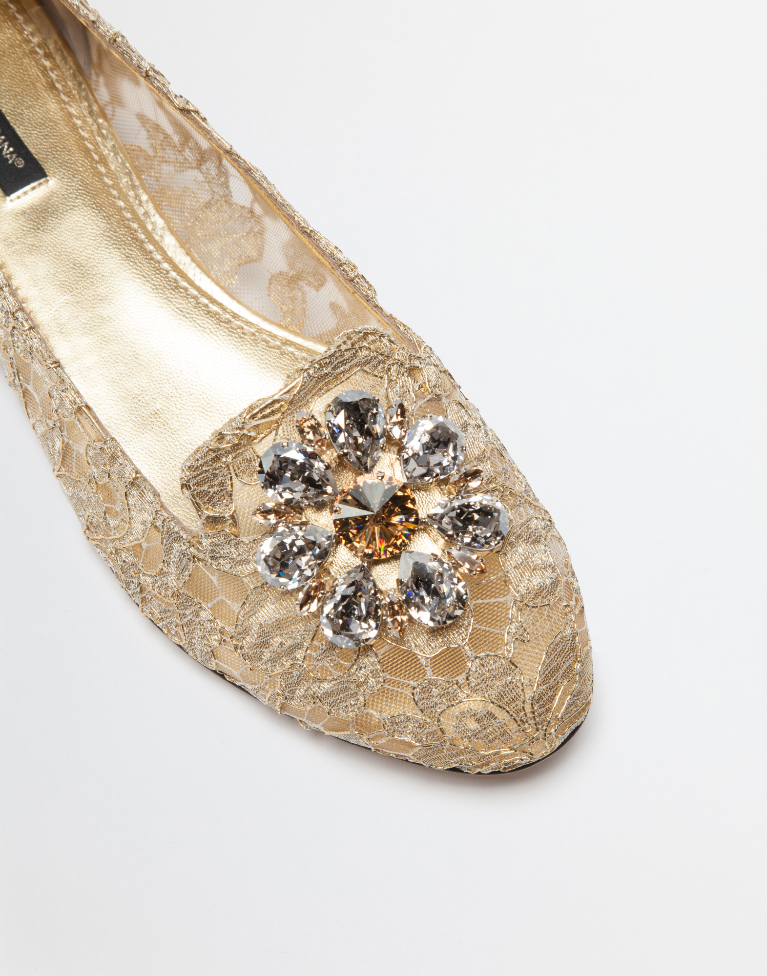 Dolce&Gabbana SLIPPER IN TAORMINA LUREX LACE WITH CRYSTALS