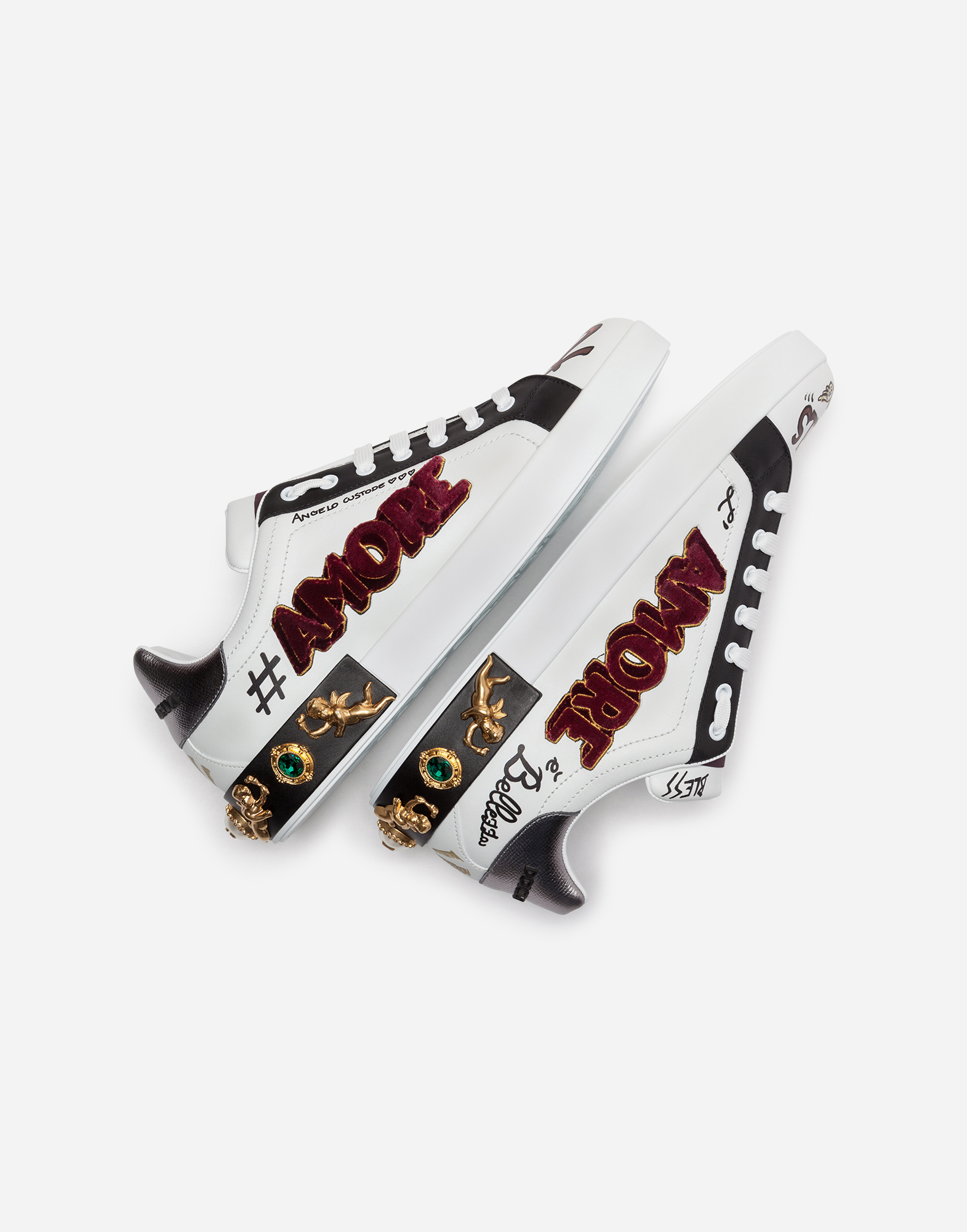 Dolce & Gabbana PORTOFINO SNEAKERS IN PRINTED CALFSKIN WITH PATCH AND APPLIQUÉS