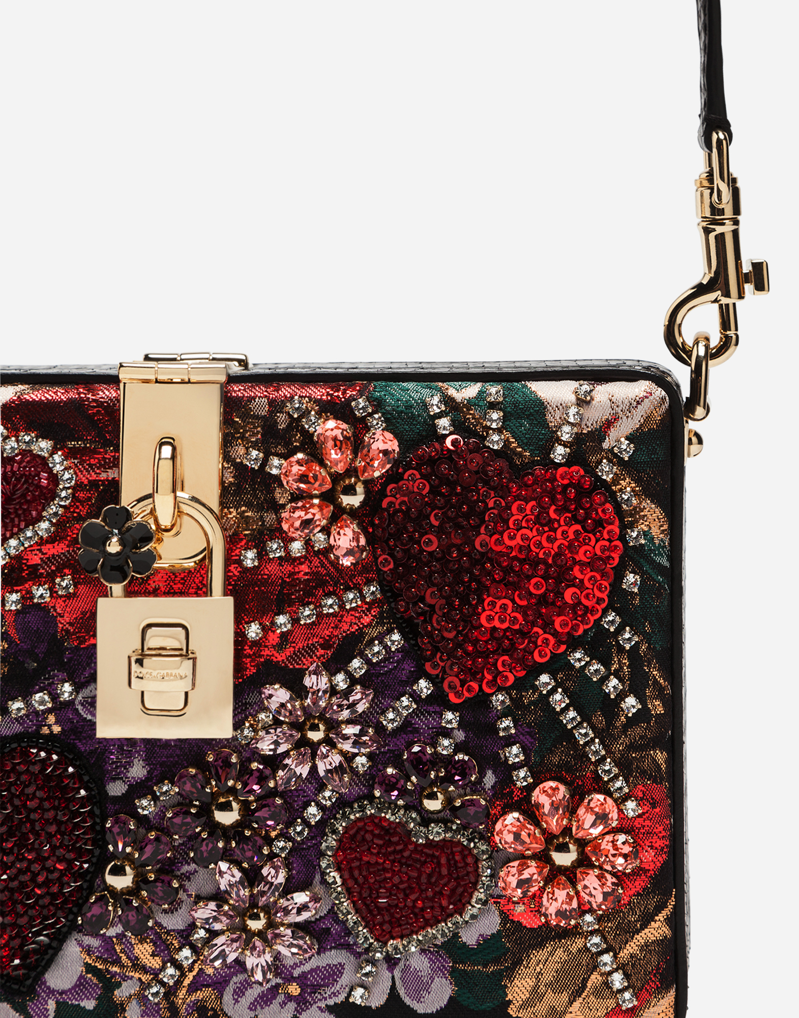 Dolce&Gabbana DOLCE BOX CLUTCH IN LUREX JACQUARD AND AYERS SNAKESKIN