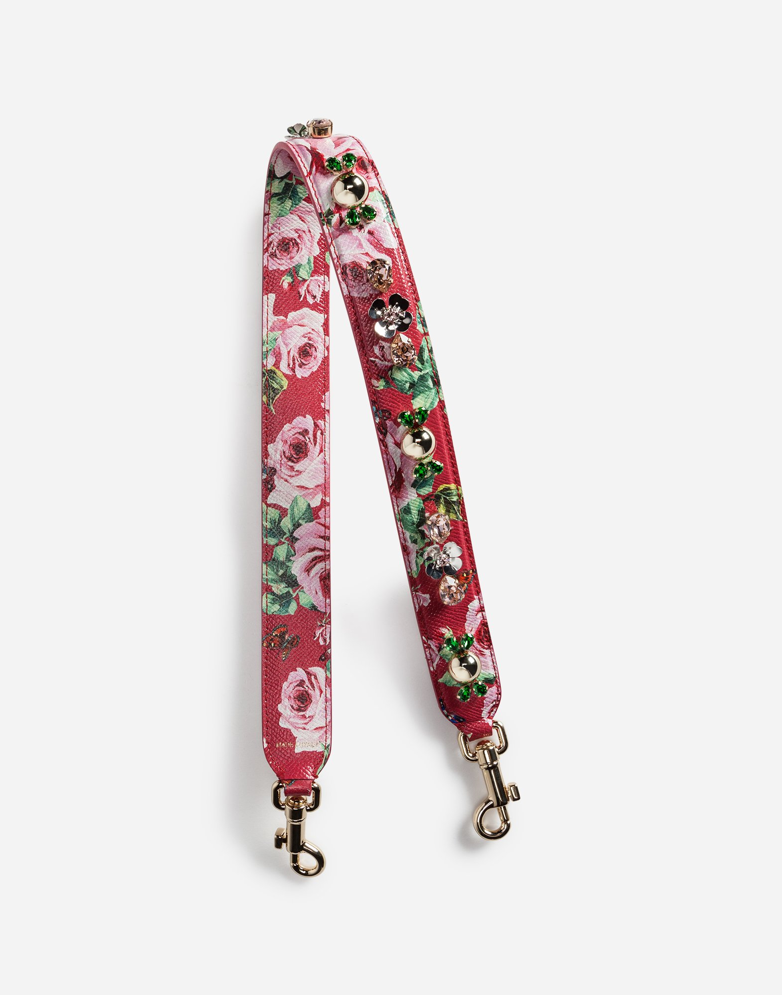 PRINTED DAUPHINE LEATHER SHOULDER STRAP