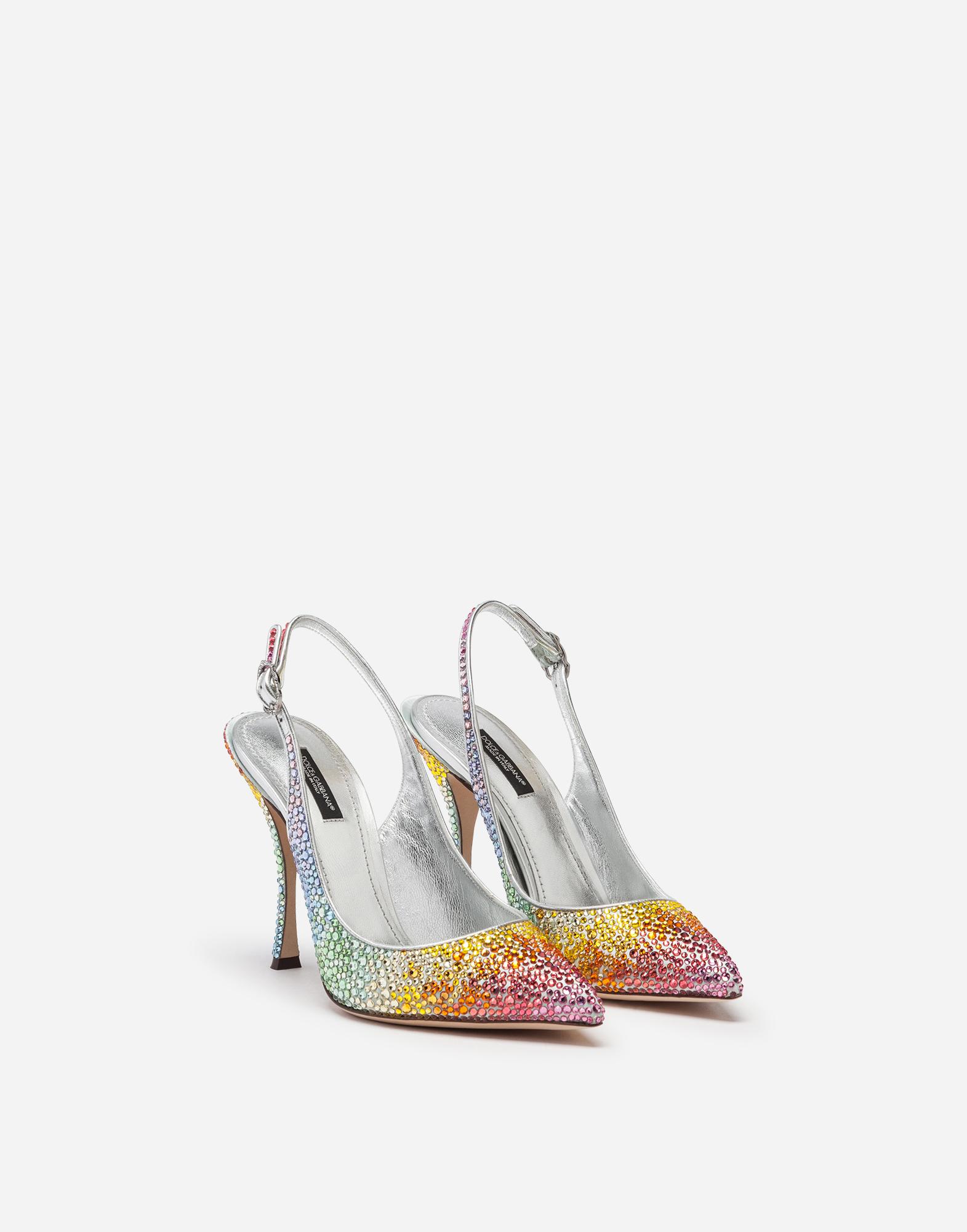 Dolce & Gabbana SLING BACKS IN SATIN AND CRYSTAL