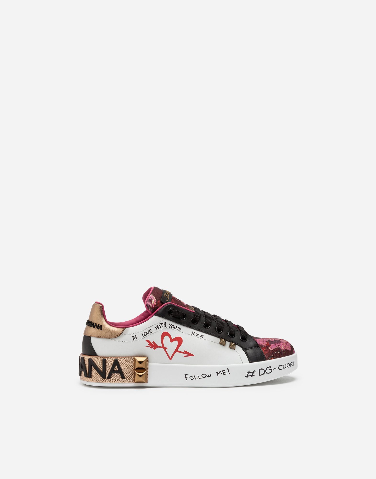 Dolce&Gabbana PORTOFINO SNEAKERS IN MIX OF MATERIALS WITH APPLICATIONS