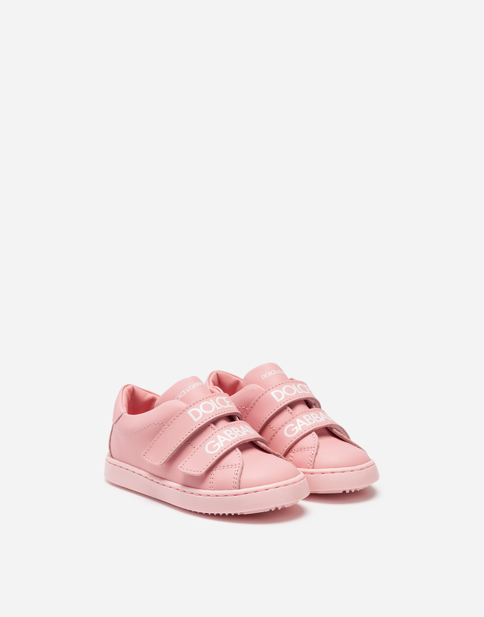 Dolce & Gabbana FIRST STEPS PORTOFINO SNEAKERS IN BRANDED NAPPA LEATHER