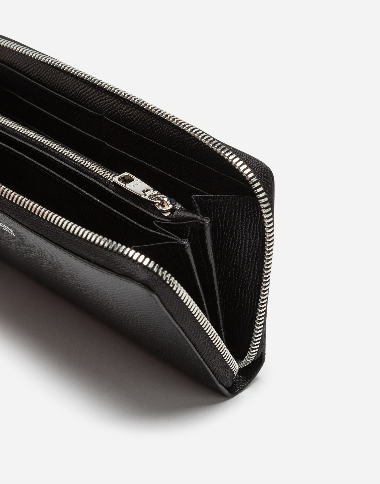 ZIP-AROUND WALLET IN DAUPHINE CALFSKIN WITH DESIGNERS' PATCHES
