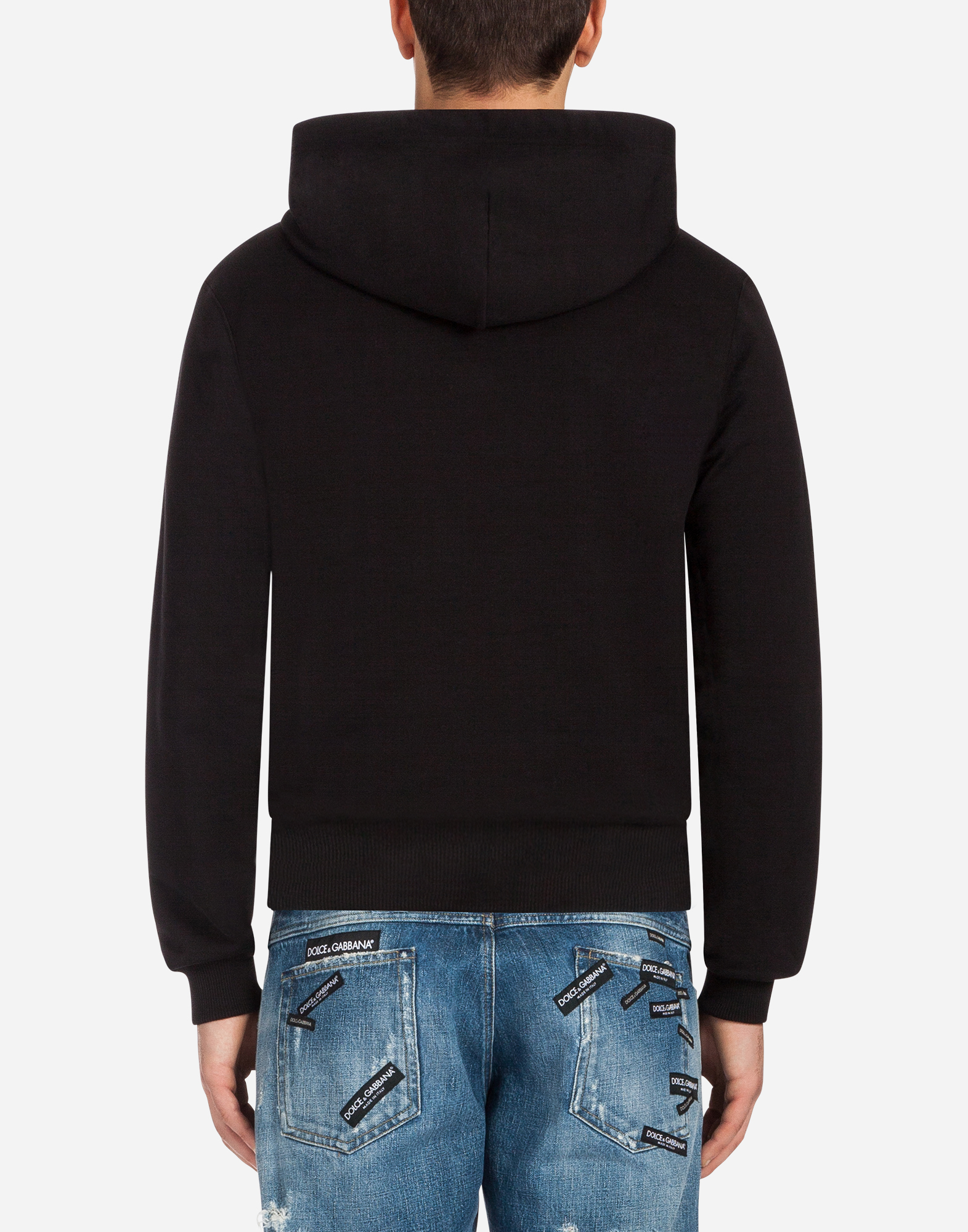 COTTON SWEATSHIRT WITH EMBROIDERY AND HOOD