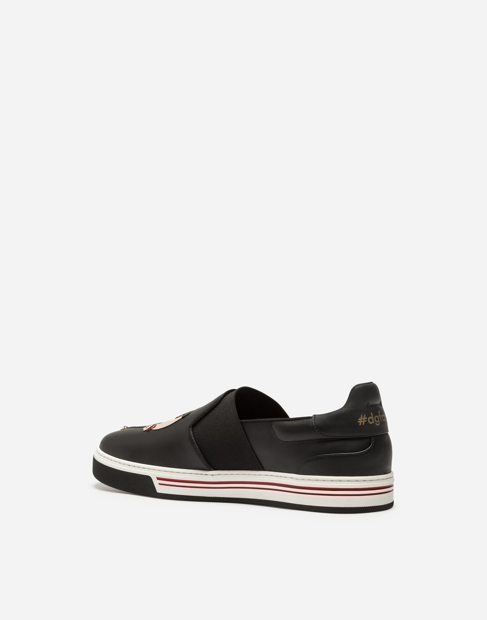 CALFSKIN ROMA SLIP-ON SNEAKERS WITH CUPID-STYLE PATCHES OF THE DESIGNERS