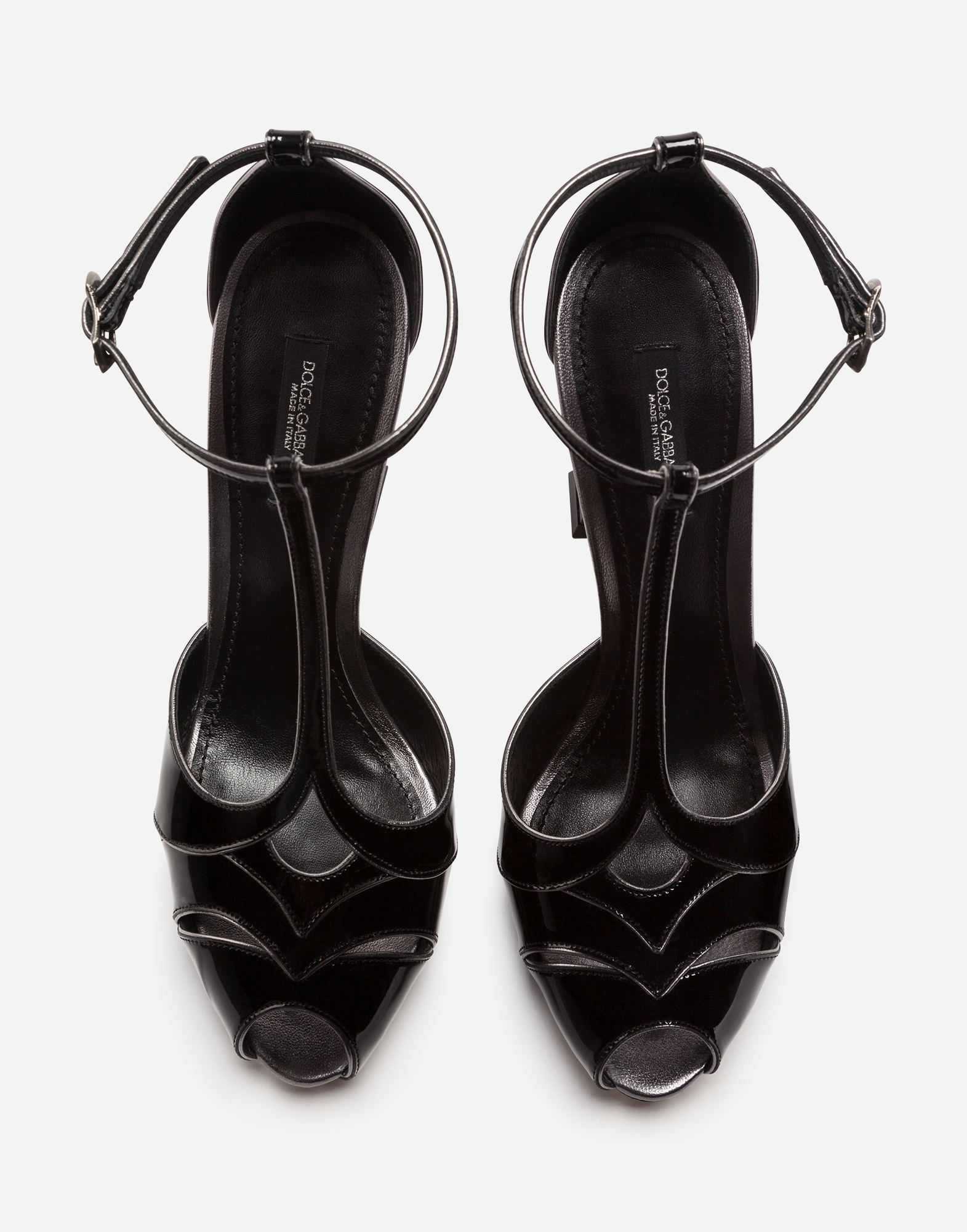Dolce & Gabbana SANDALS IN VARNISH AND MORDORÉ NAPPA LEATHER WITH SCULPTED HEEL