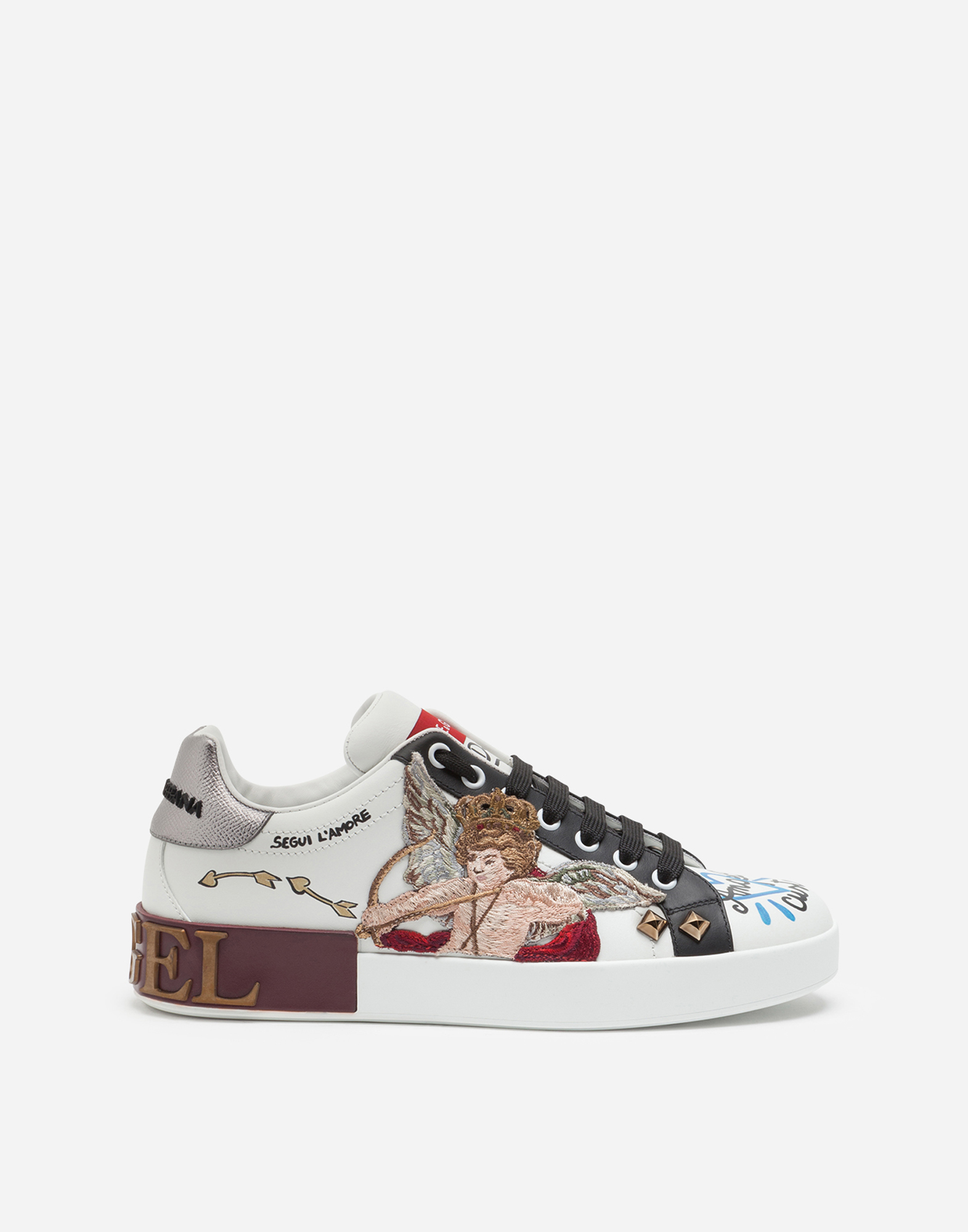 Dolce & Gabbana PORTOFINO SNEAKERS IN PRINTED CALFSKIN WITH CUPID PATCH AND APPLIQUÉS