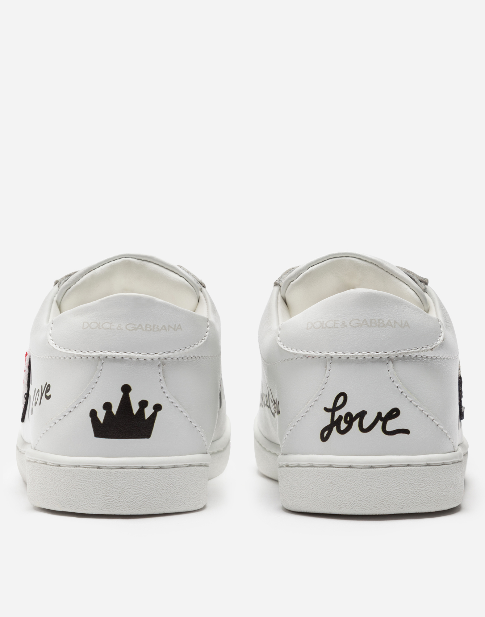 Dolce&Gabbana LEATHER SNEAKERS WITH PRINT