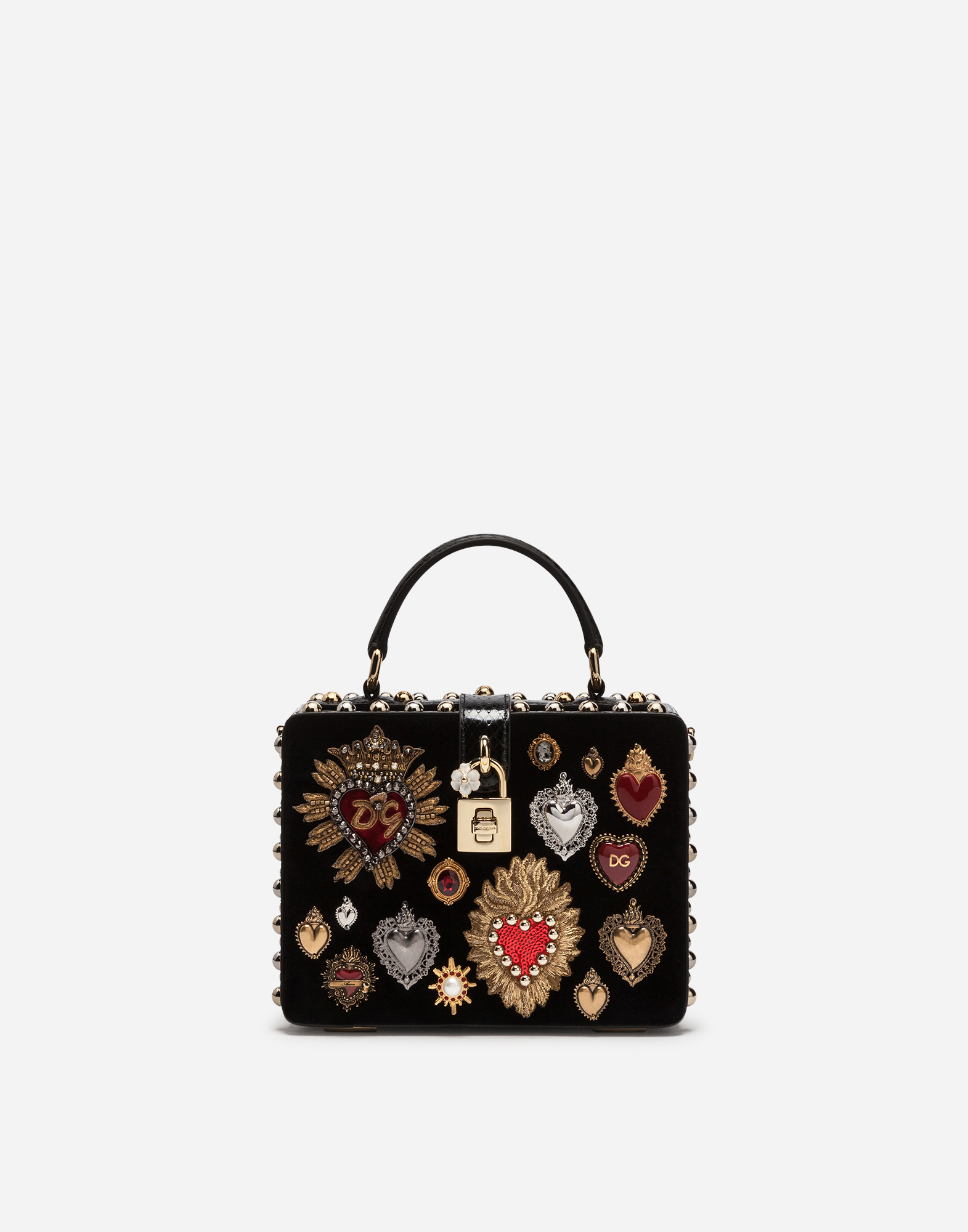DOLCE BOX BAG IN VELVET WITH EMBROIDERY