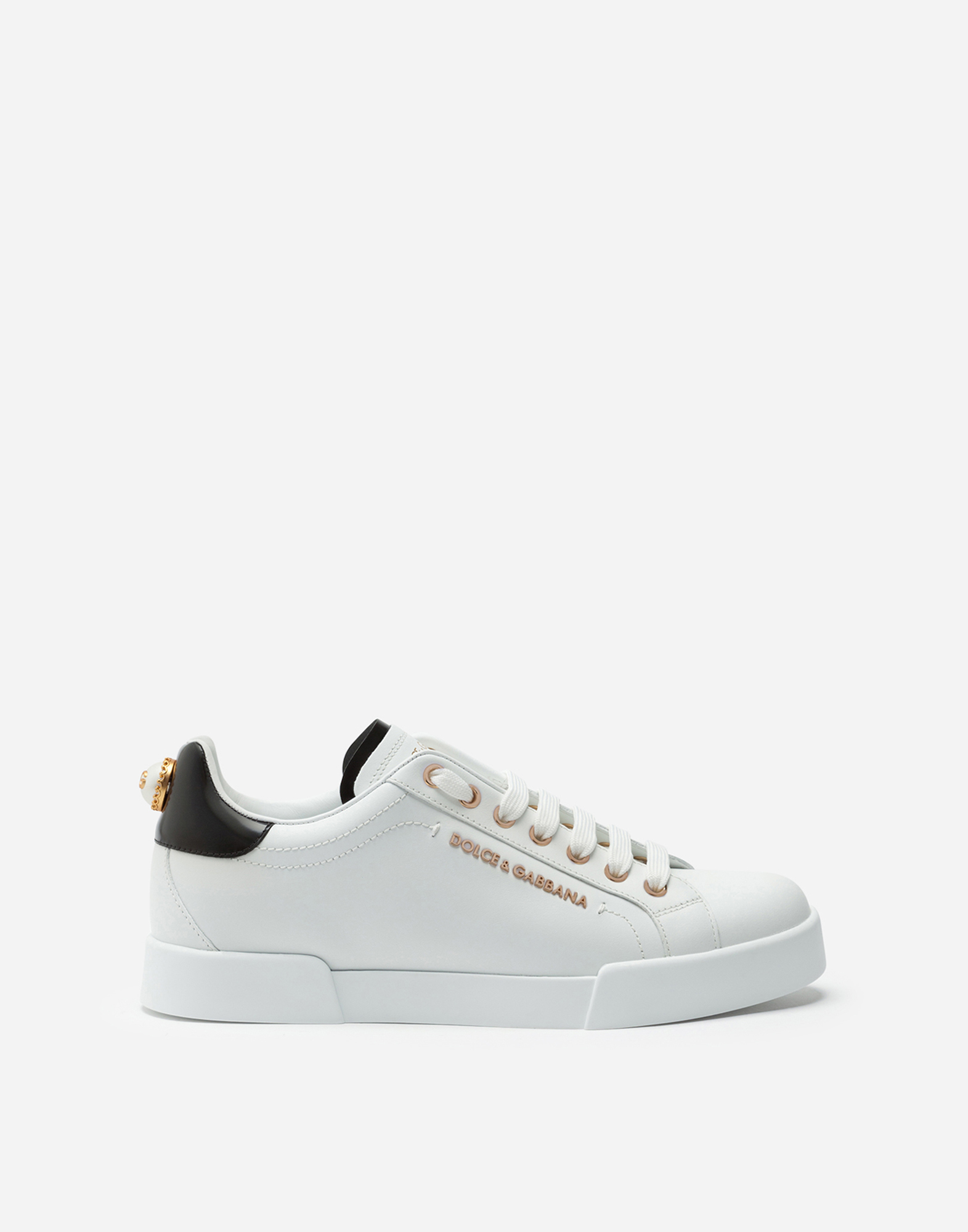 LEATHER SNEAKERS WITH LOGO BEAD
