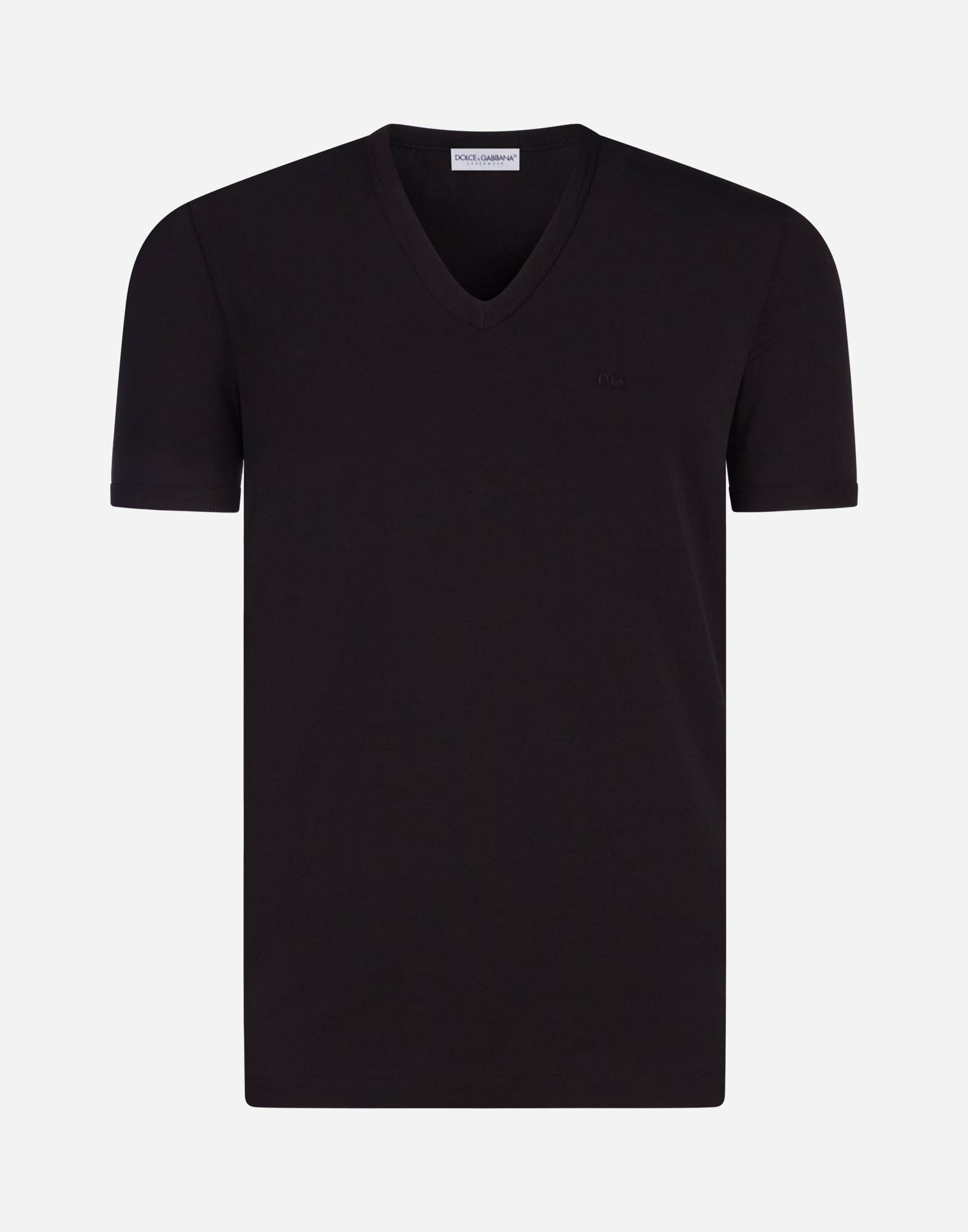 Dolce & Gabbana V-NECK STRETCH COTTON T-SHIRT